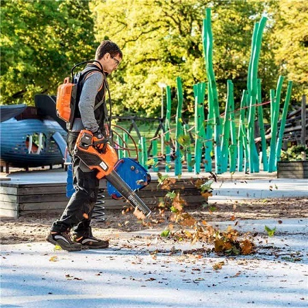 Man Using Backpack Battery Leaf Blower